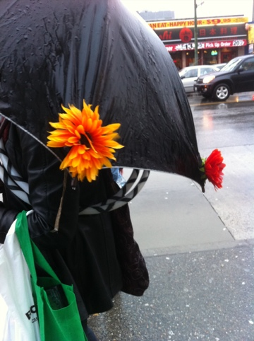 Photo of an umbrella adorned with flowers