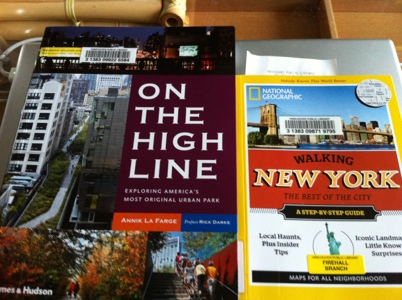 Two books side-by-side: On the High Line and Walking New York